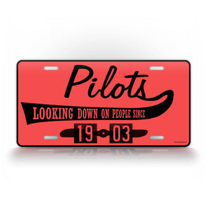 Pink Aviator Auto Tag Pilots Looking Down On People License Plate Tag