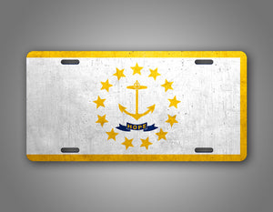 Weathered Metal Rhode Island State Flag Auto Tag