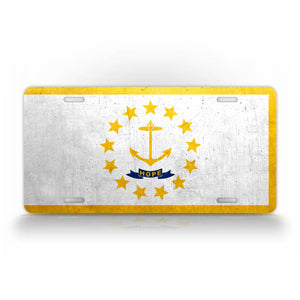 Rhode Island State Flag Weathered Metal License Plate