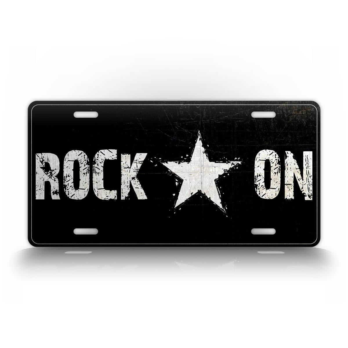 Black And White Rock On Rockstar Auto Tag