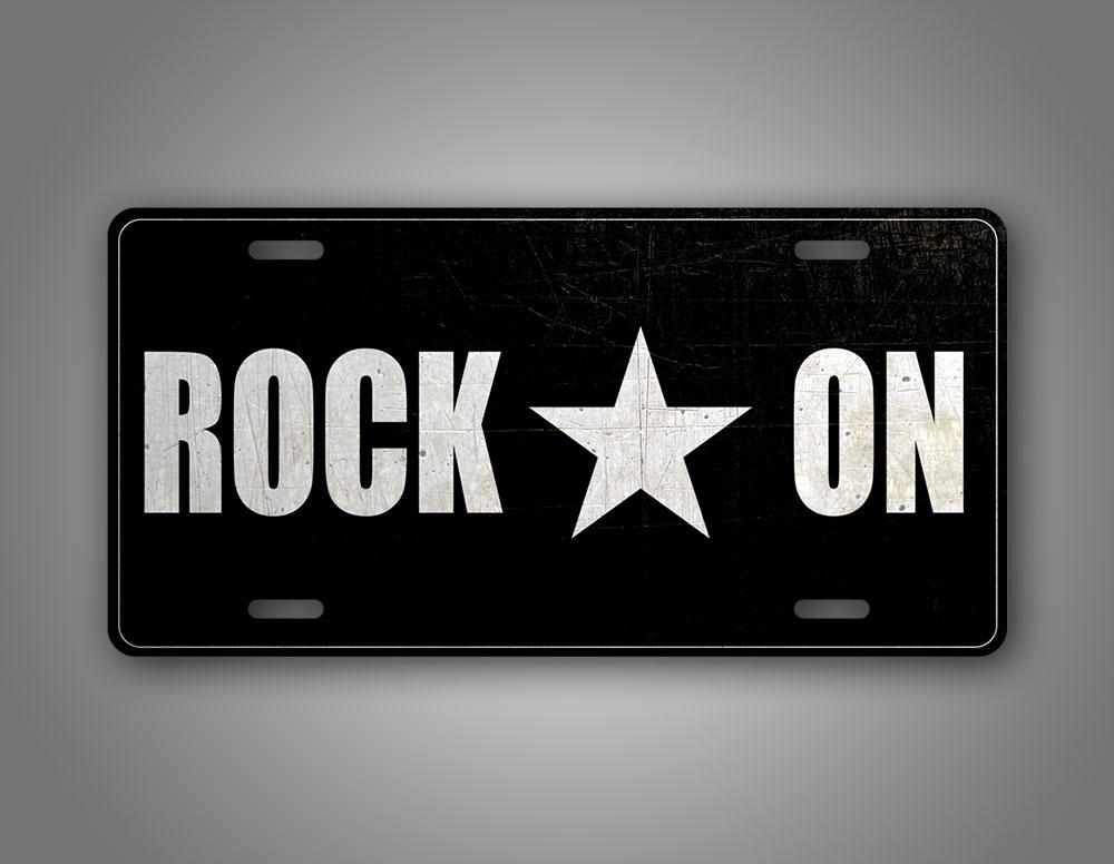 Black And White Rock On Auto Tag Rockstar License Plate