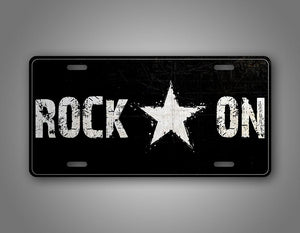 Black And White Rock On License Plate Rockstar Auto Tag