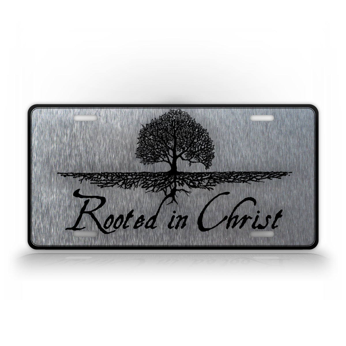 Silver Rooted In Christ Christian License Plate