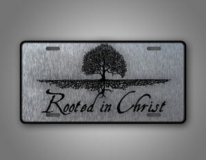 Silver Rooted In Christ Christian Car Auto Tag