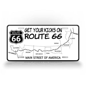 Get Your Kicks On Route 66 License Platte