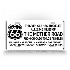 This Vehicle Has Traveled Route 66 Novelty License Plate