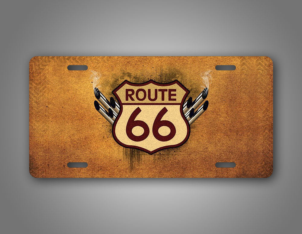 Vintage Route 66 Sign With Grunge License Plate