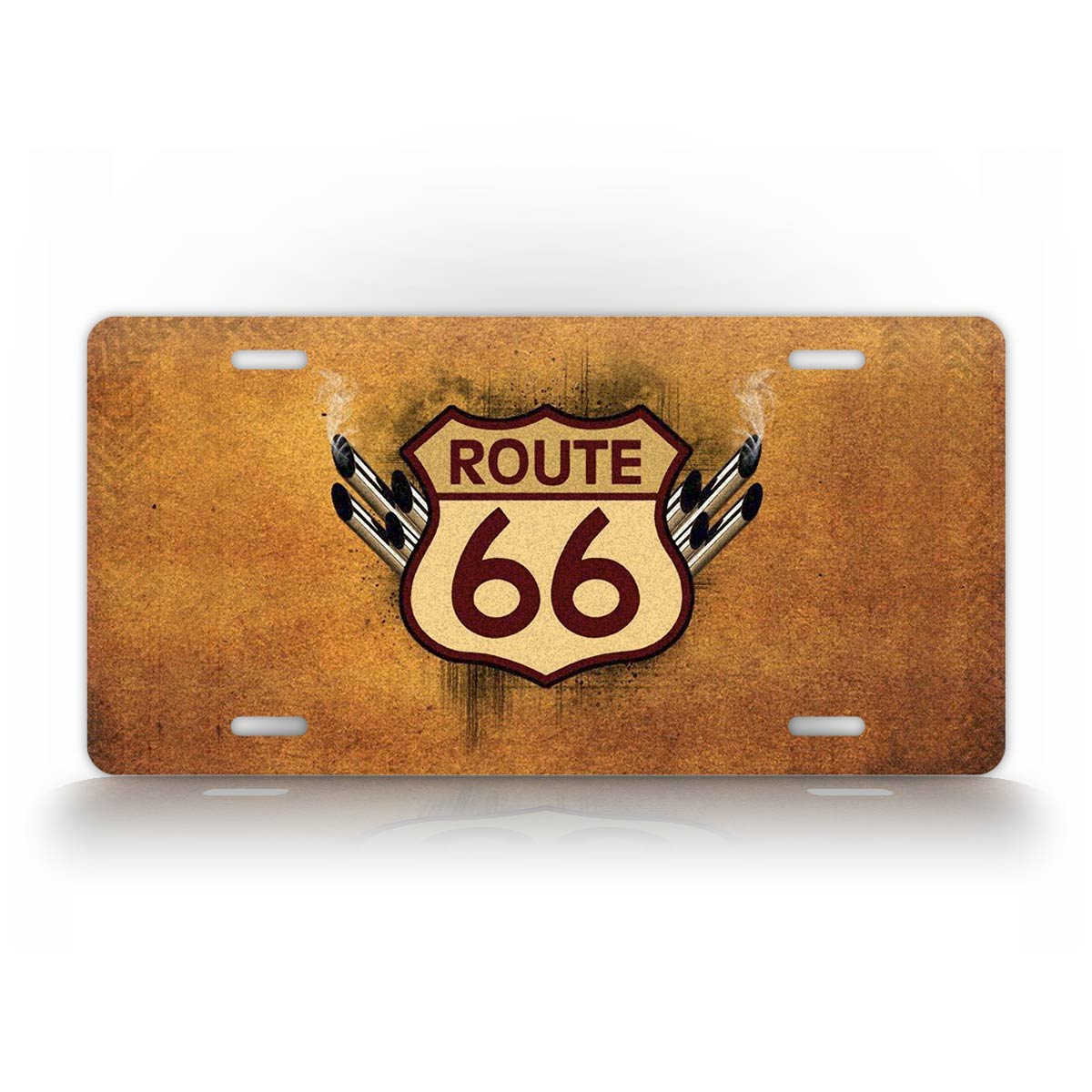 Rustic Route 66 With Tailpipes License Plate