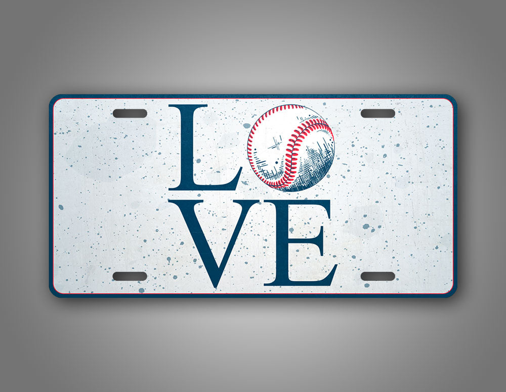 Baseball Love License Plate Baseball Bat Novelty Auto Tag