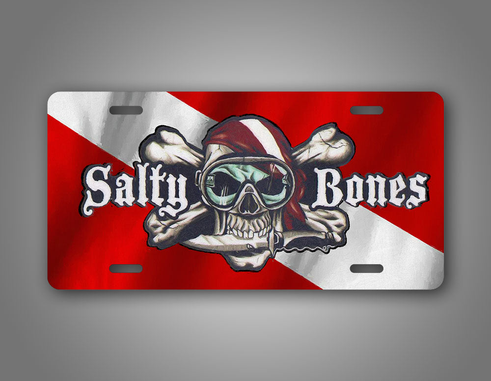 Salty Bones Diver Down Skull And Cross Bones Auto Tag