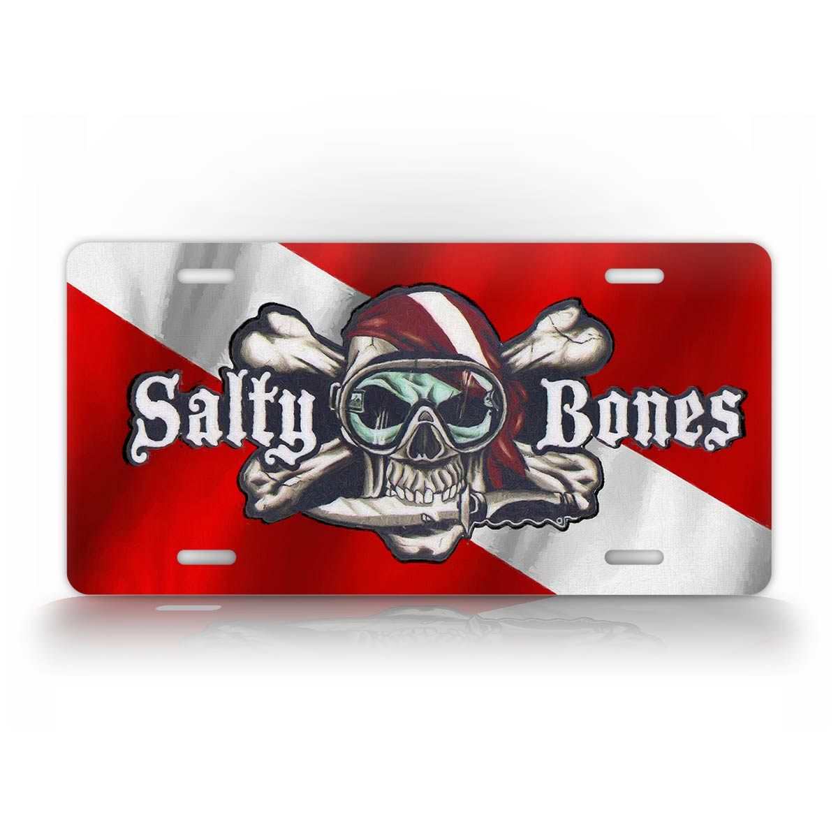 Salty Bones Diving Flag License Plate