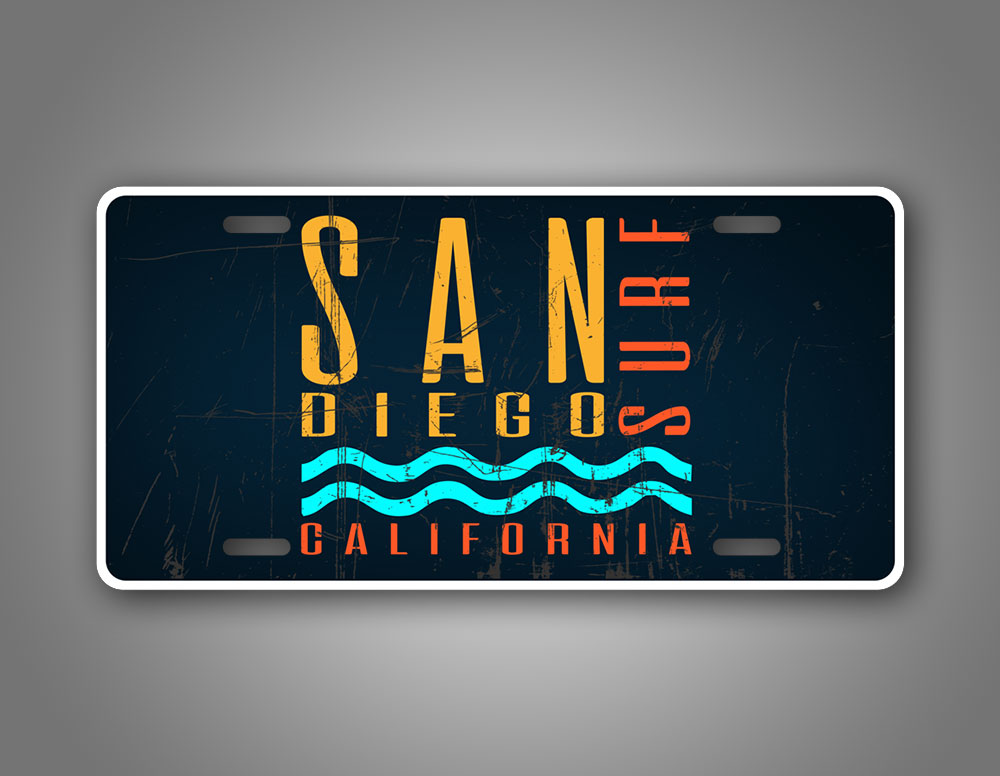 Blue Scratched San Diego California License Plate Surfing