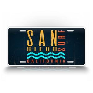 Blue San Diego California License Plate Surfing Auto Tag