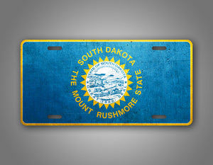 Weathered Metal South Dakota Flag Auto Tag