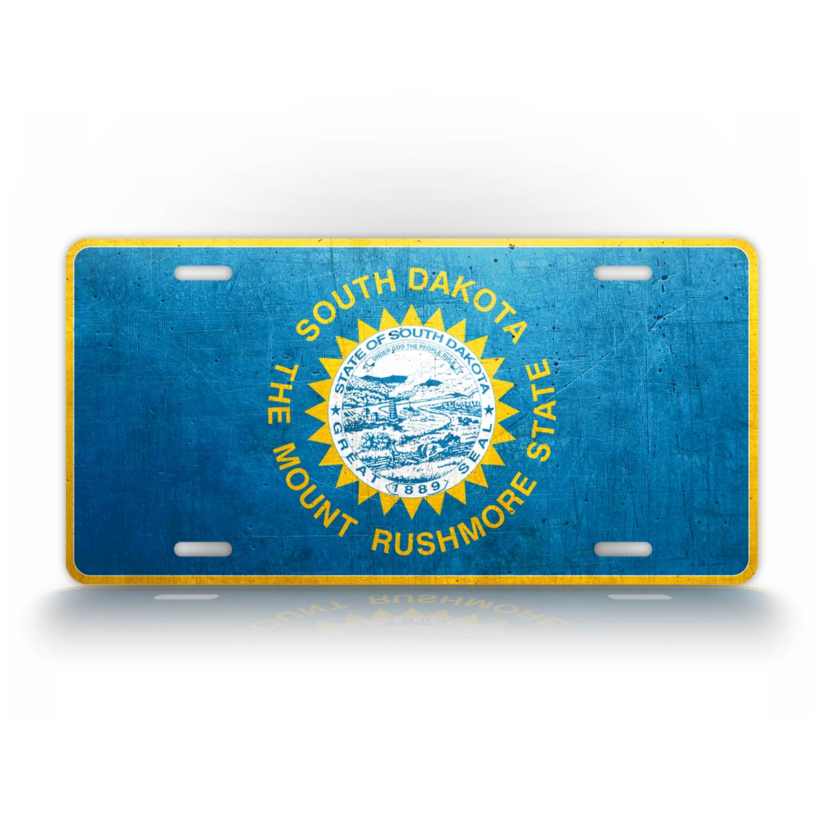 South Dakota Flag Weathered Metal License Plate