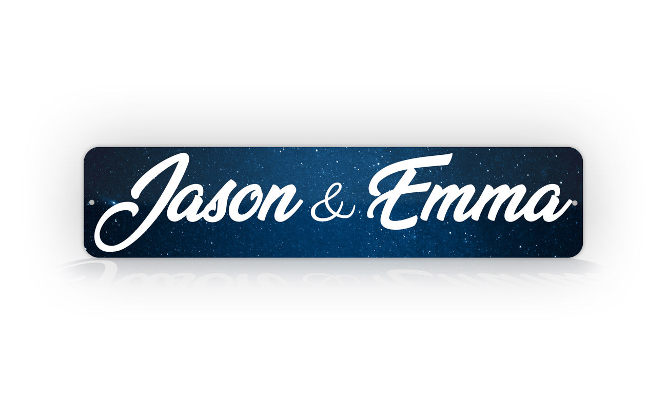 Personalized Night Sky Galaxy Street Sign Couples Names