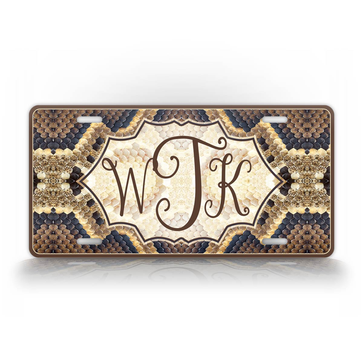 Personalized Snakeskin Monogram License Plate