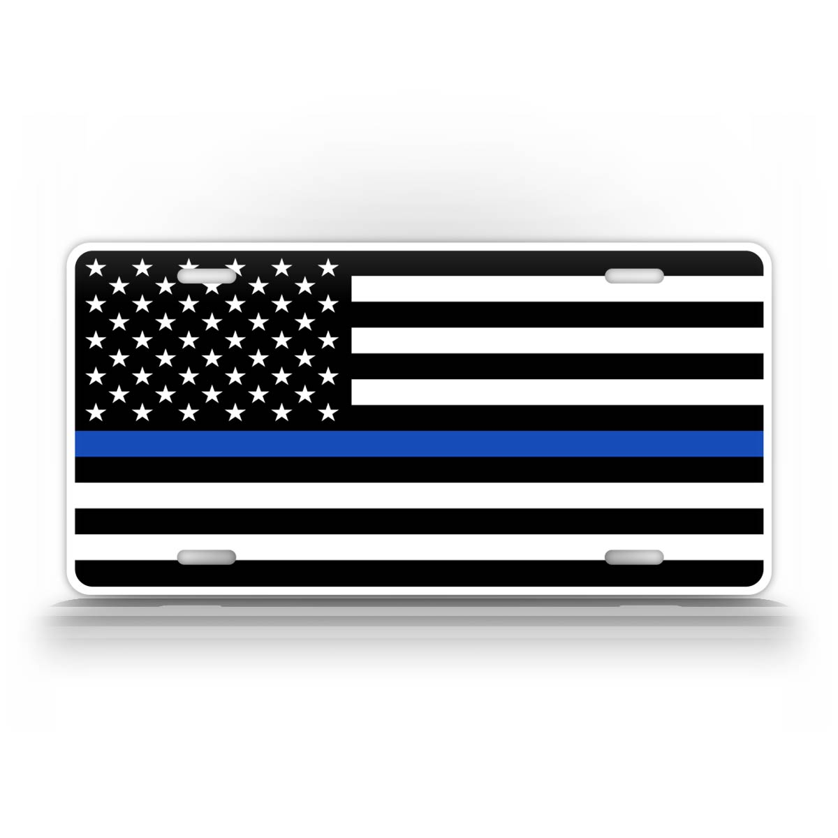 Tacitcal Blue Line Police American Flag License Plate Auto Tag