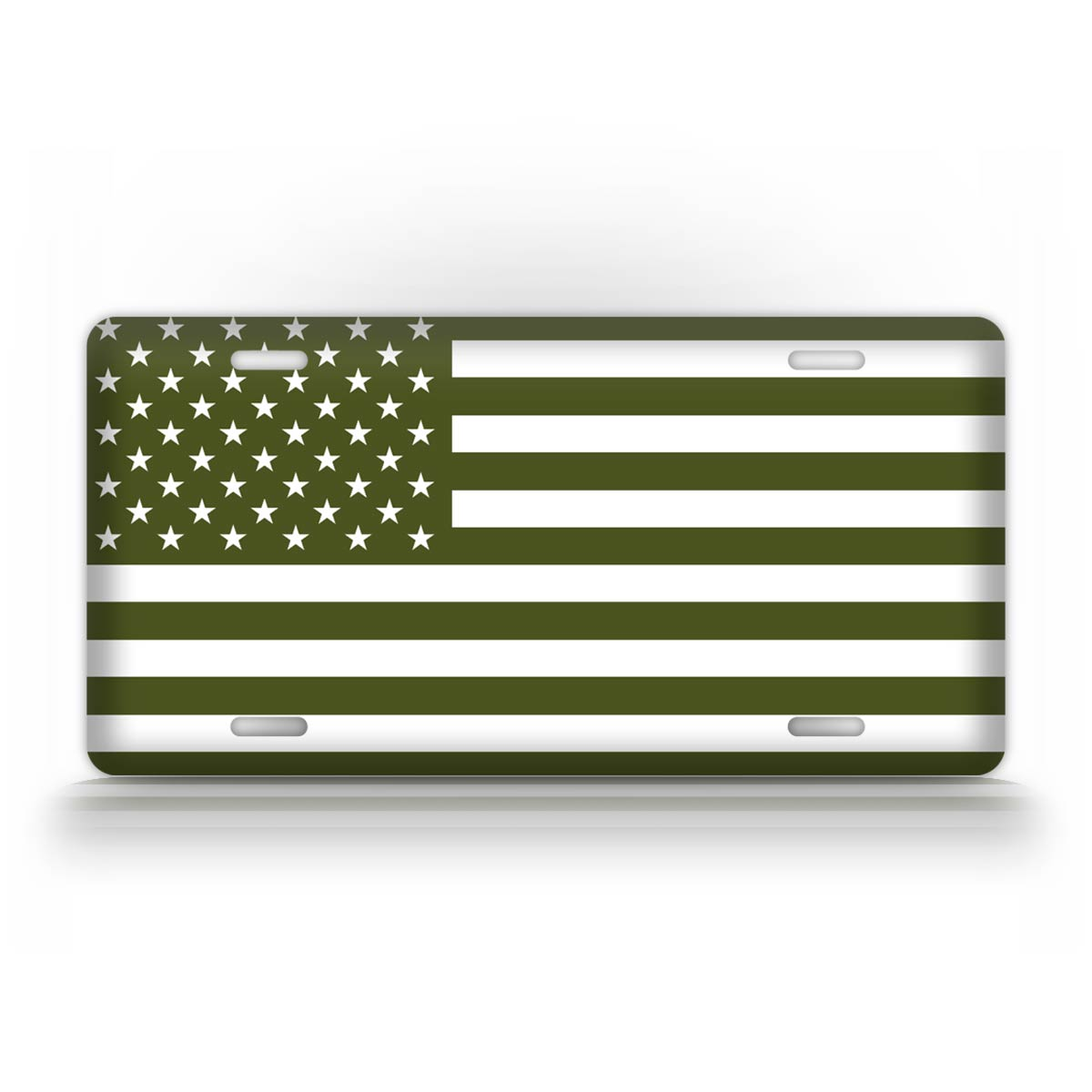 Olive Drab American Flag License Plate
