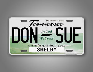 Tennessee State Auto Tag Custom Text