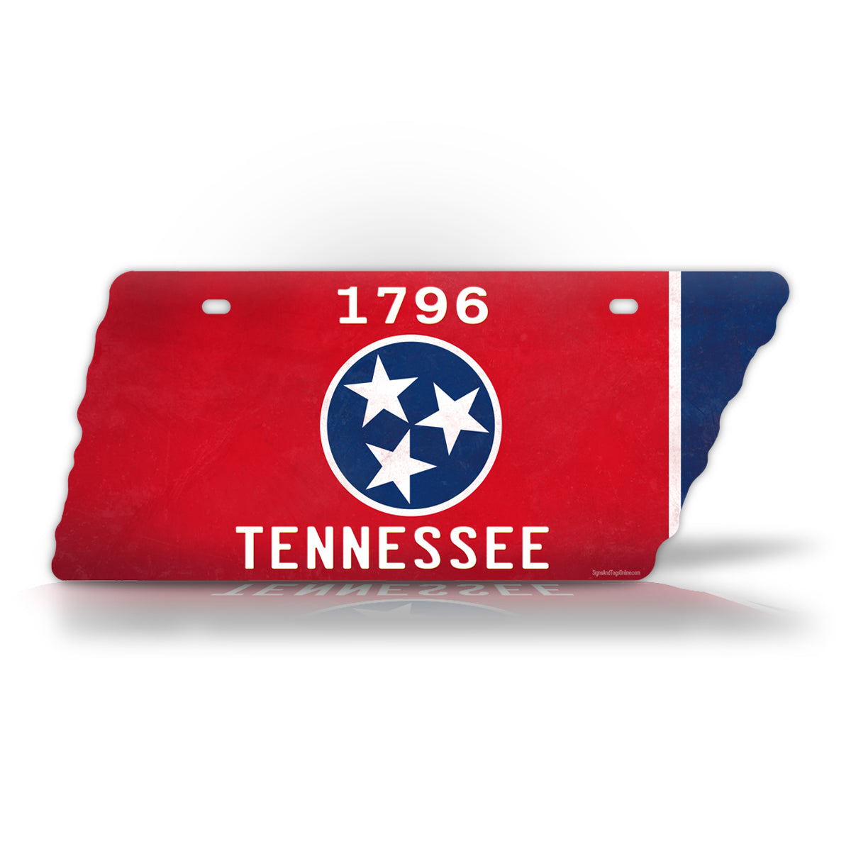 Tennessee Tri Star Flag 1776 TN State Shaped License Plate