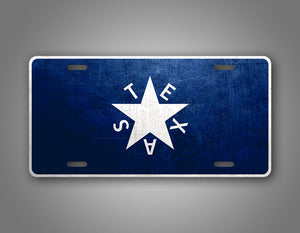Weathered Metal Texas De Zavala Flag License Plate