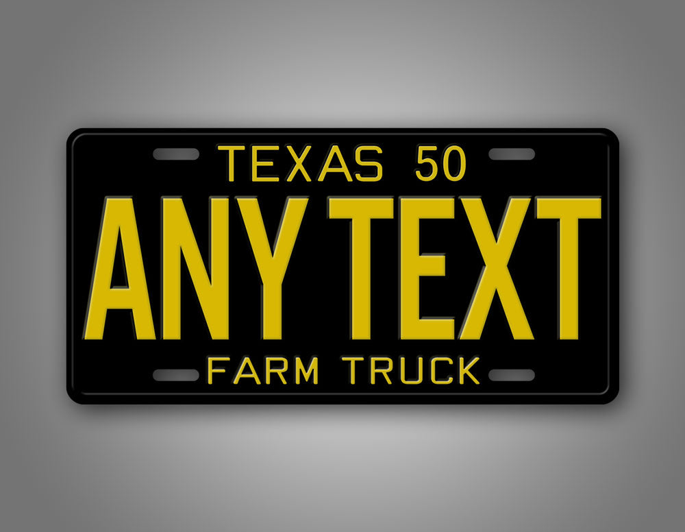 Black And Yellow Texas 1950 Farm Truck License Plate