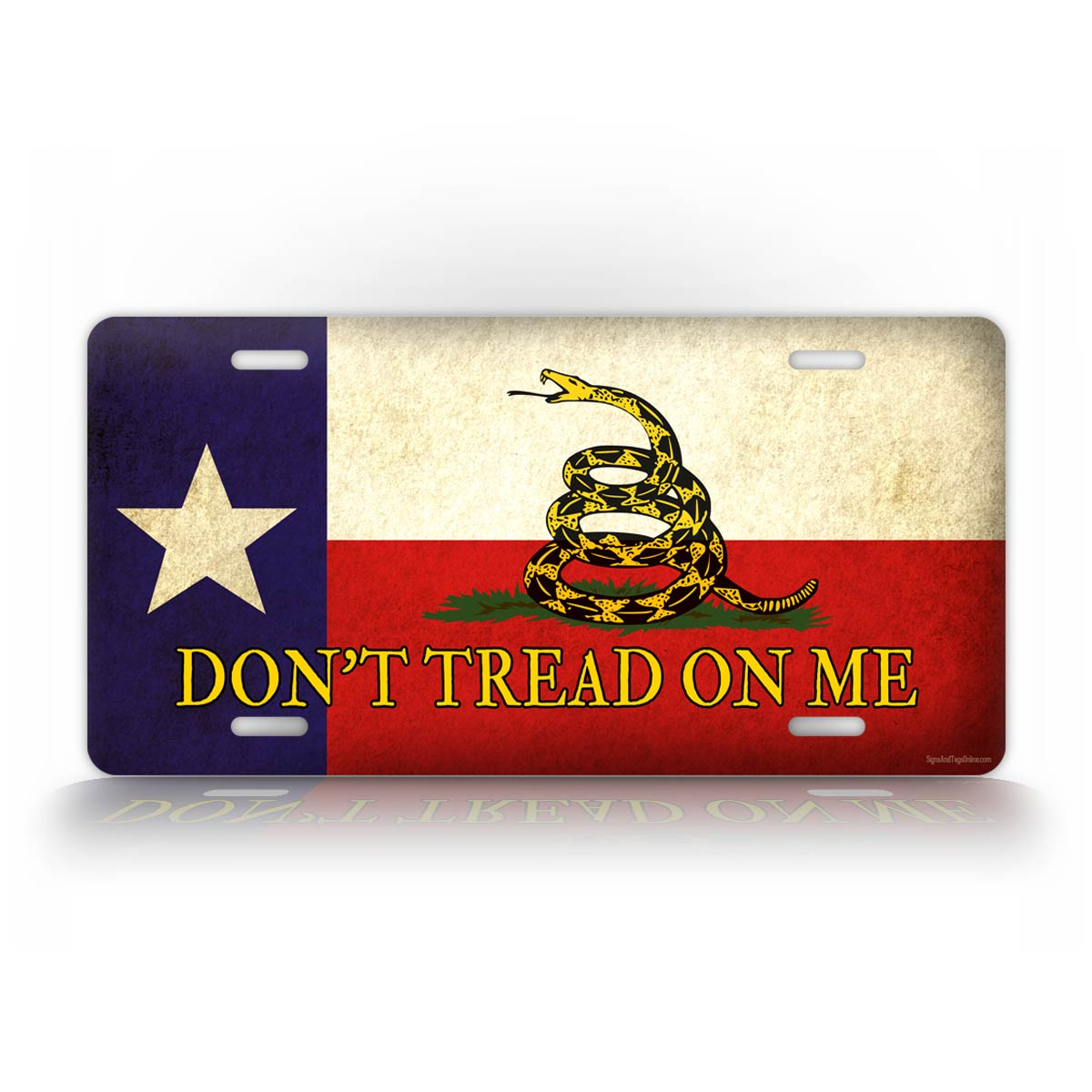 Rustic Dont Tread On Me Texas Flag License Plate