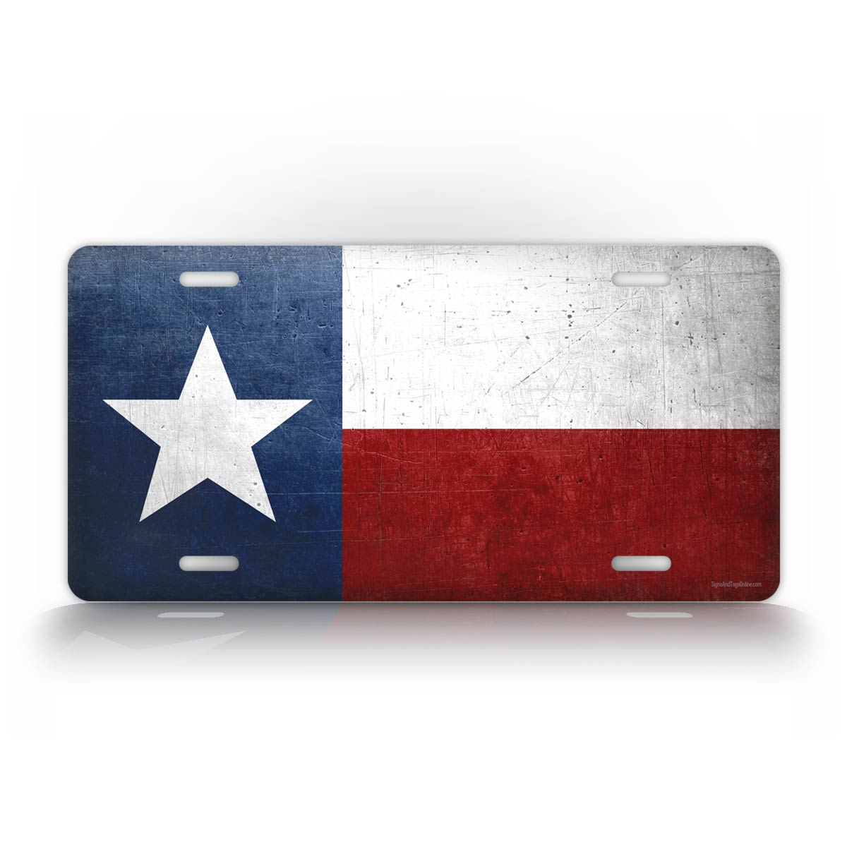 Texas State Flag Weathered Metal License Plate