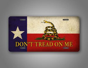 Antique Dont Tread On Me Texas Flag Auto Tag