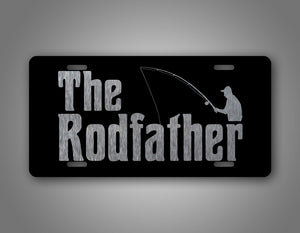 The Rod Father Elderly Man Fishing Grandpa License Plate