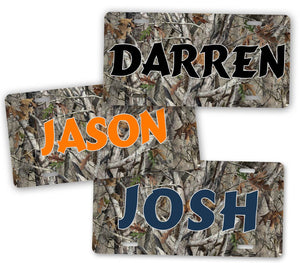 Custom Text Any Name Camo Hunting License Plate