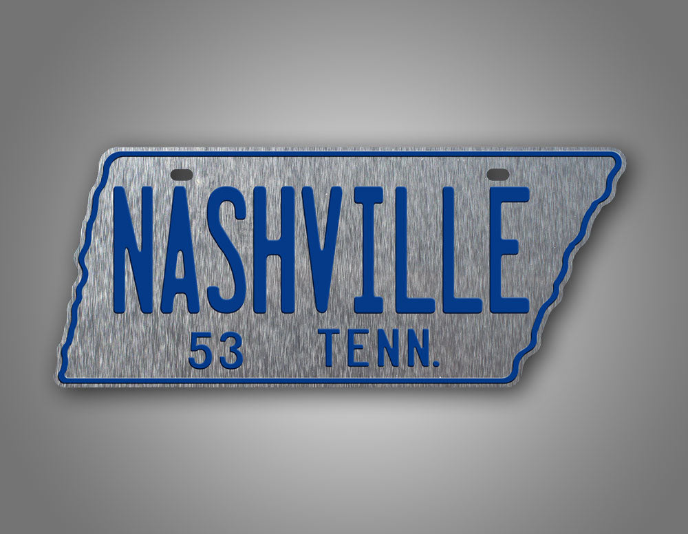 Replica Silver and Blue 1953 Tennessee State Shaped License Plate