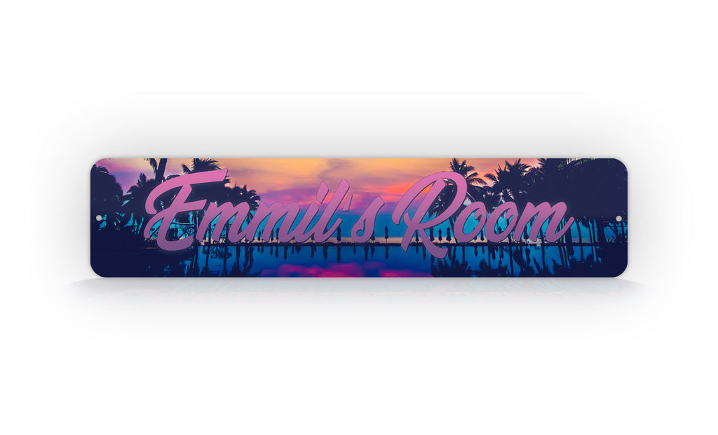 Custom Text Tropical Sunset Street Sign
