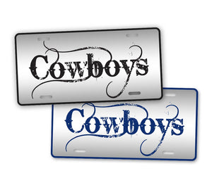 Black And Blue Cowboys Football Auto Tag