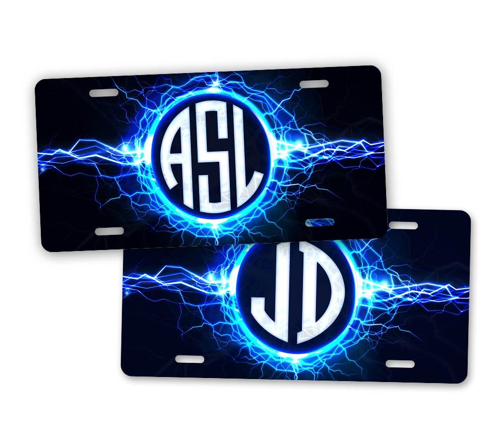 Custom Text Lightning Monogram License Plate