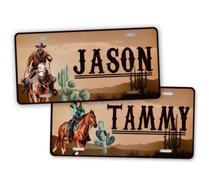 Custom Text Western Cowyboy License Plate