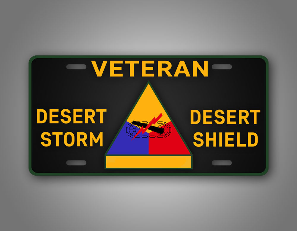 Desert Storm Desert Shield Veteran Armored Division Patch License Plate