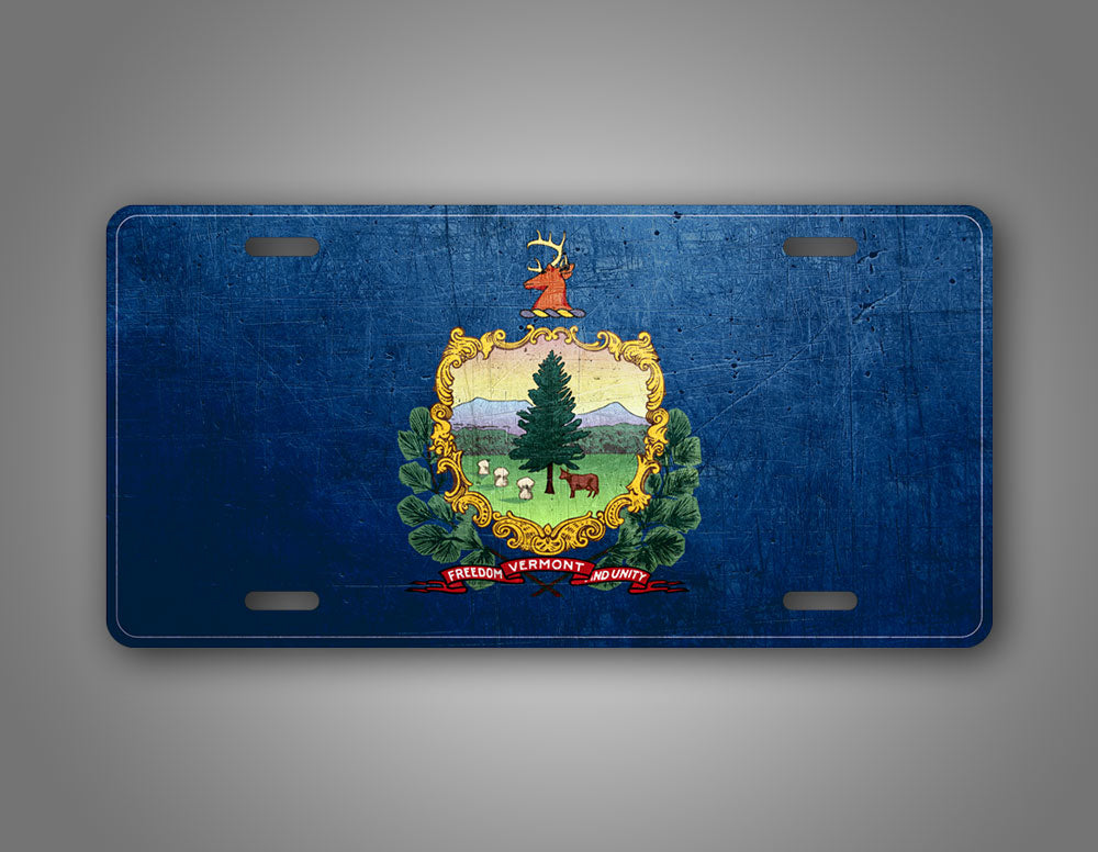 Weathered Metal Vermont State Flag Auto Tag