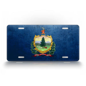 Vermont State Flag Weathered Metal License Plate