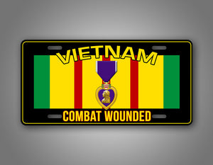 Vietnam Veteran Combat Wounded License Plate Purple Heart Auto Tag