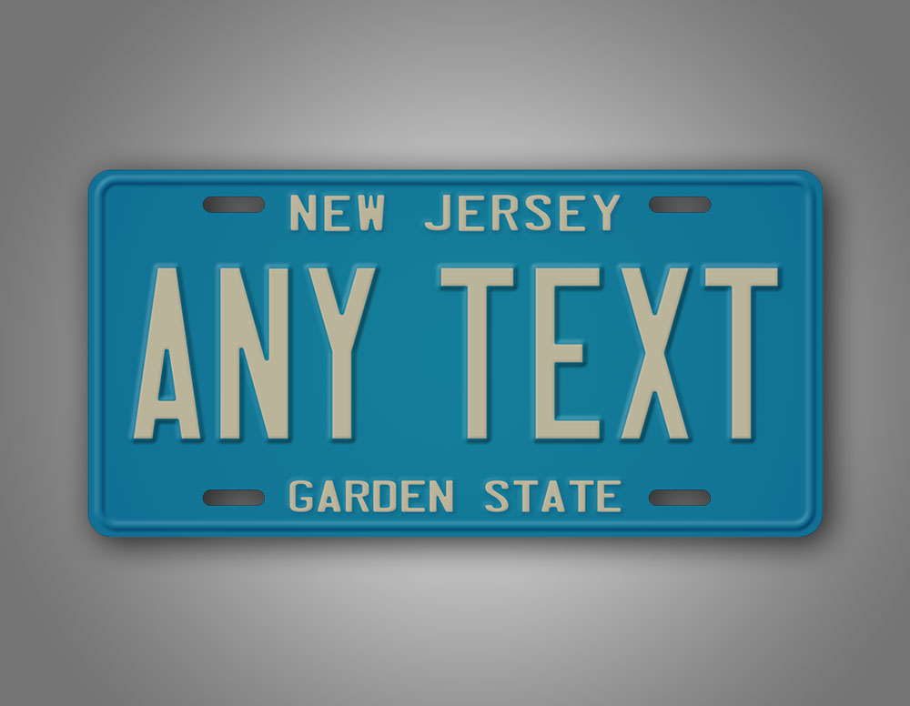 Custom Any Text New Jersey License Plate