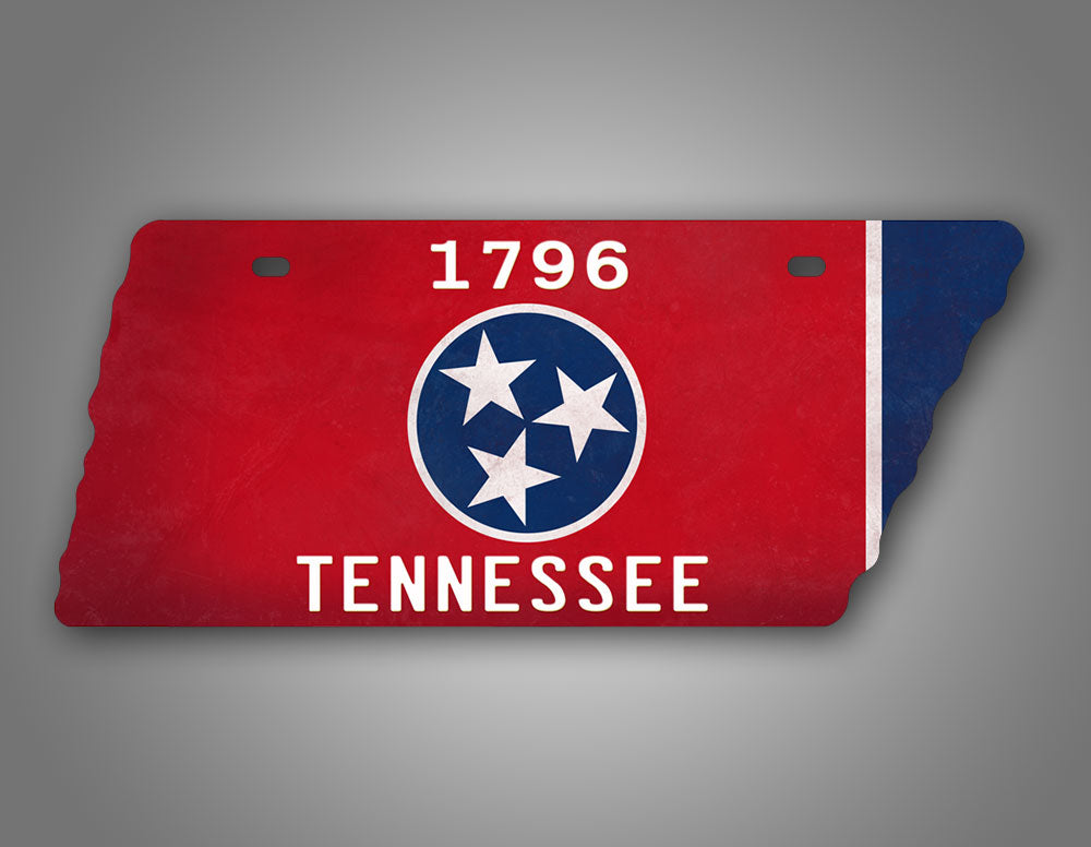 Tennessee Flag State Shaped License Plate