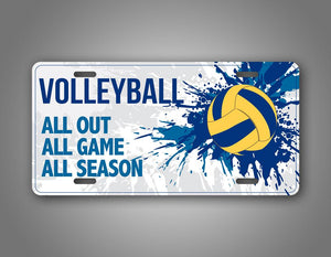 Splashy Vollyball Auto Tag All Out All Game All Season License Plate