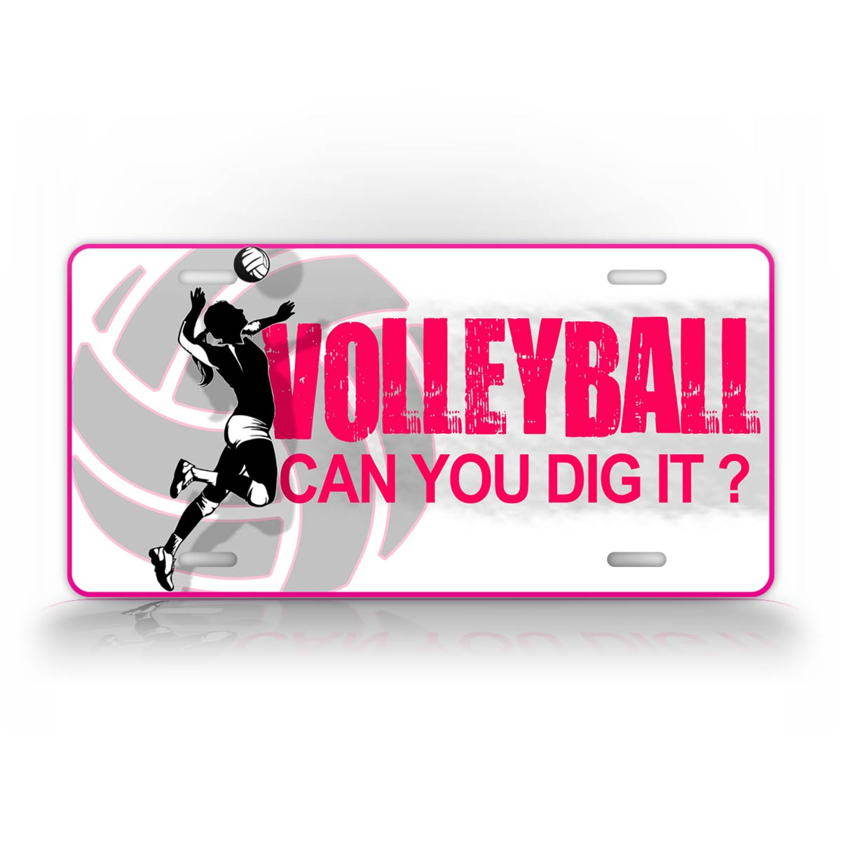 Pink Vollyball Licese Plate Can You Dig It Auto Tag