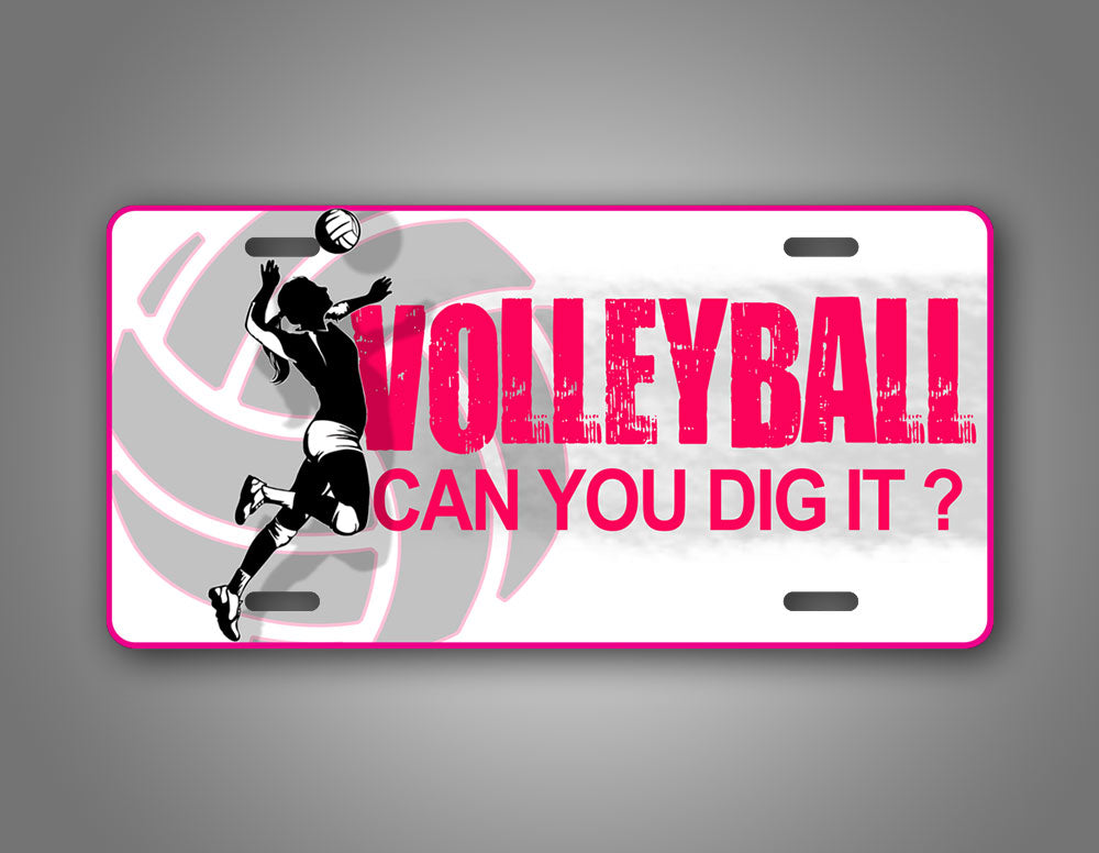 Pink Vollyball Licese Plate Can You Dig It Tag
