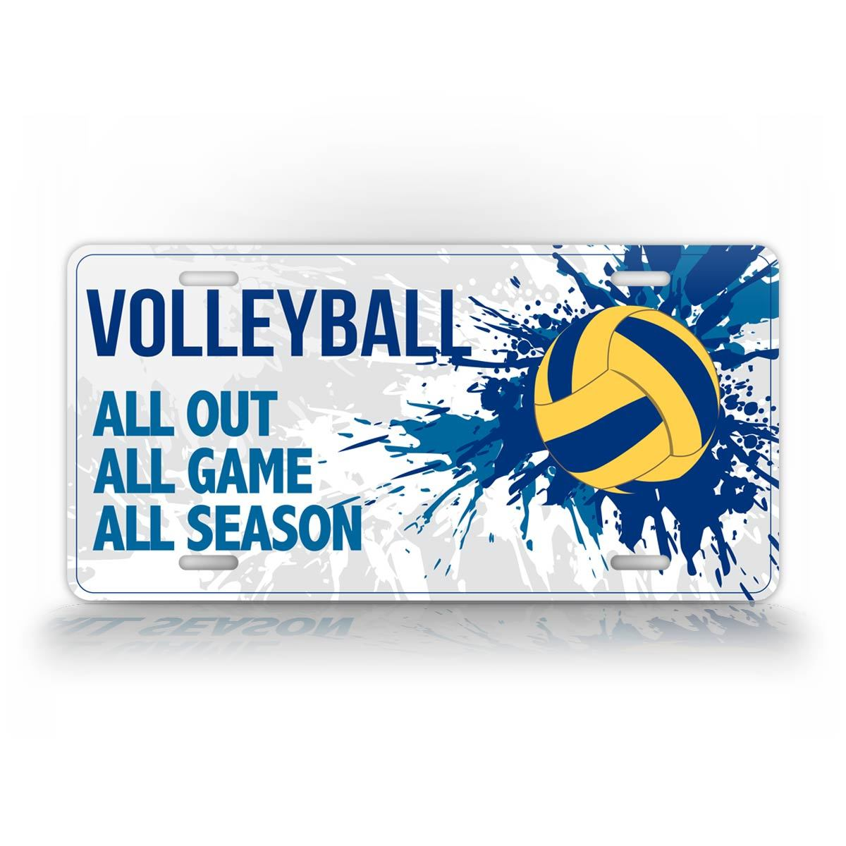 Splashy Vollyball License Plate All Out All Game All Season Auto Tag