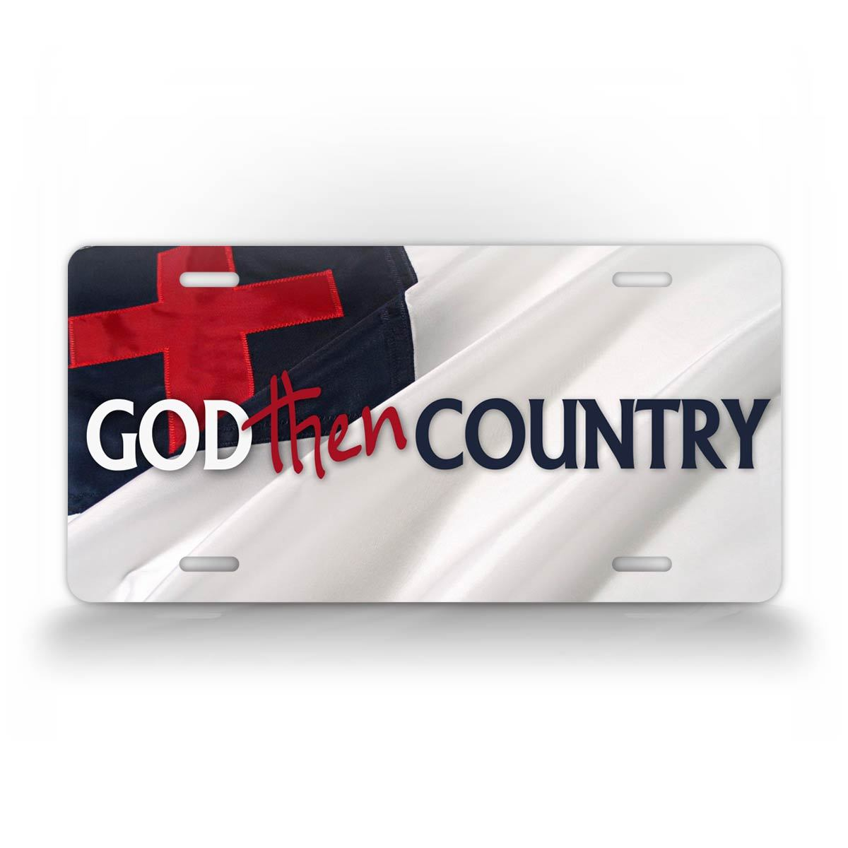Christian Flag God Then Country Auto Tag