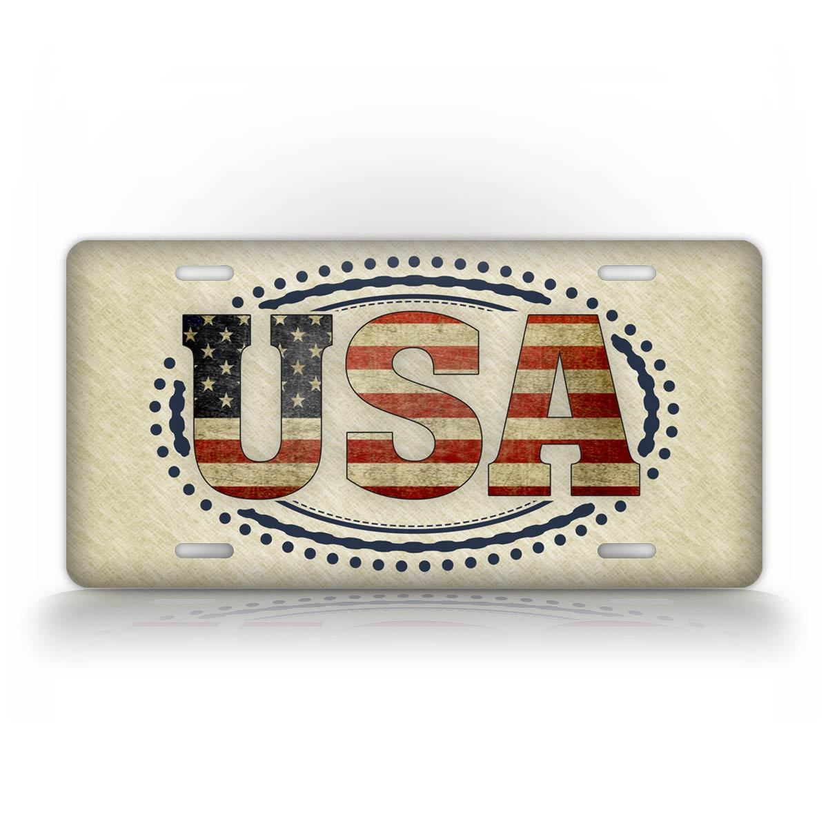 Americana USA Text License Plate