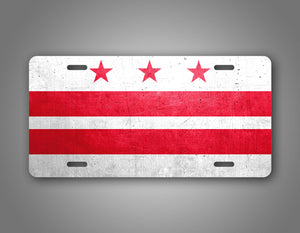 Weathered Metal Washington D.C. District Of Columbia Flag Auto Tag